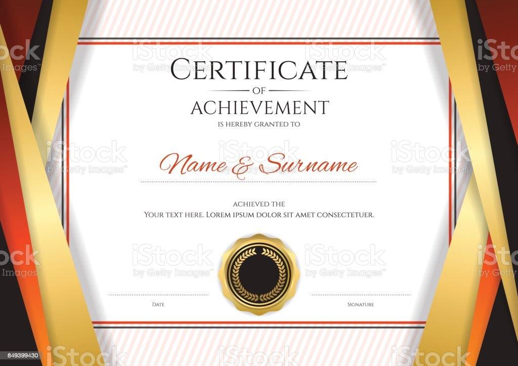 Luxury Certificate Template Golden Border Frame Diploma