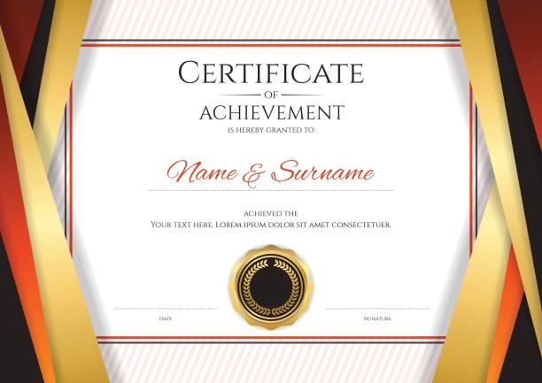 ilustrações, clipart, desenhos animados e ícones de armação de borda de dourado de modelo de certificado luxo, projeto de diploma - molduras de certificados e premiações
