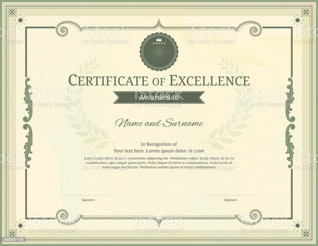 エレガントな枠、卒業または修了のディプロマ デザイン高級証明書テンプレート ベクターアートイラスト