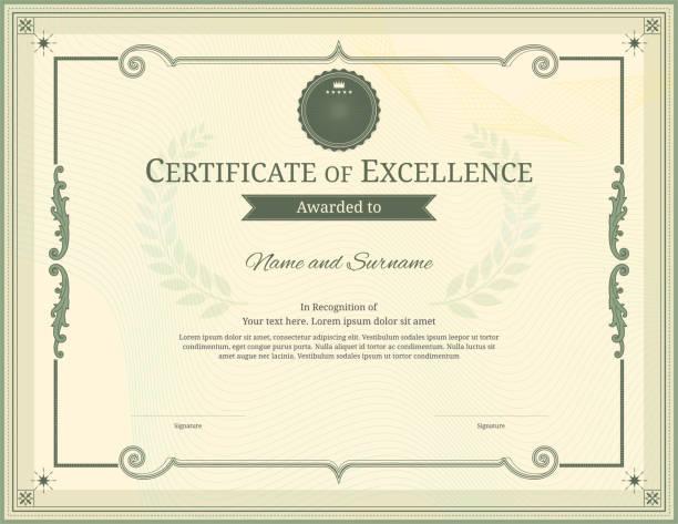 ilustrações, clipart, desenhos animados e ícones de modelo de certificado de luxo com armação de borda elegante, projeto do diploma de graduação ou conclusão - molduras de certificados e premiações