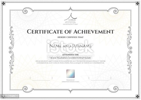 Luxury certificate template with elegant border frame diploma luxury certificate template with elegant border frame diploma design for graduation or completion stock vector art more images of abstract 871259822 yadclub Image collections