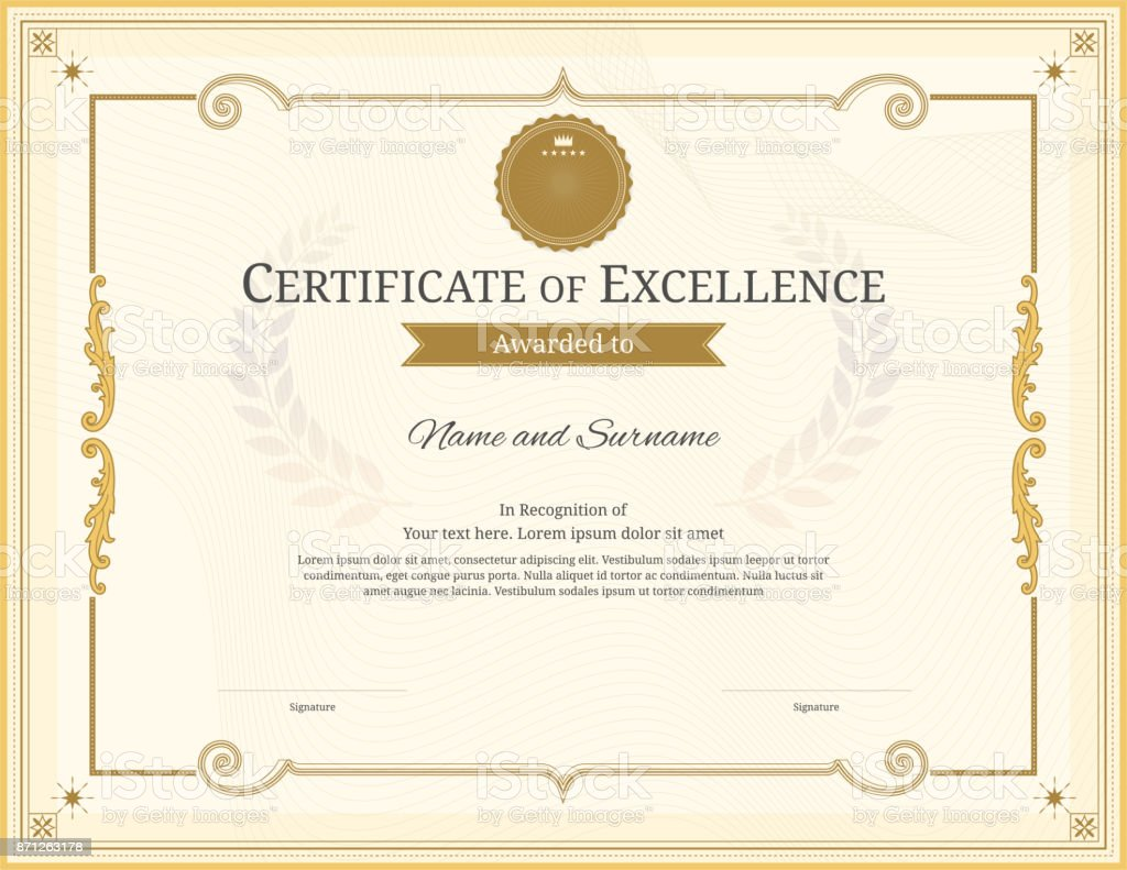 Luxury Certificate Template With Elegant Border Frame Diploma Design For Graduation Or Completion Royalty