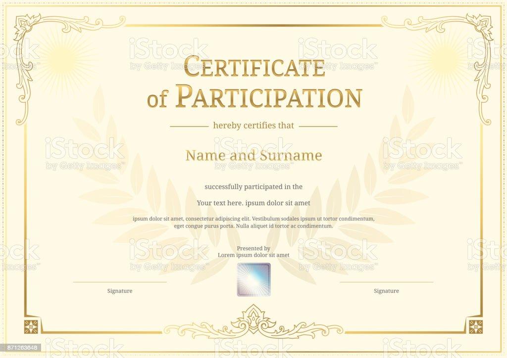 Ilustración de Plantilla De Certificado De Lujo Con Elegante Borde ...