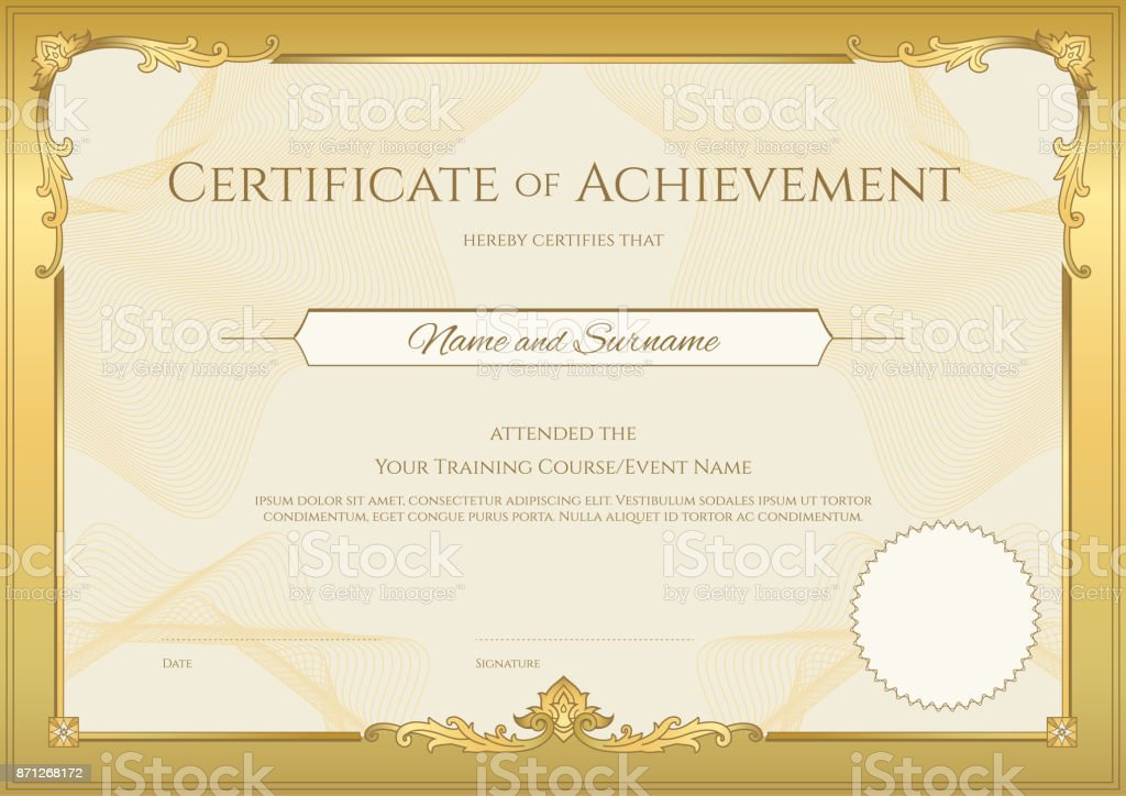 luxury certificate template with elegant border frame diploma design