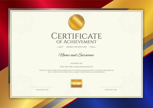Royalty free blank guarantee certificate seal drawing clip art luxury certificate template with elegant border frame diploma design for graduation or completion vector art yelopaper Choice Image