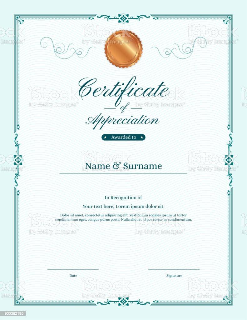 Luxury certificate template with elegant border frame, Diploma design for graduation or completion vector art illustration