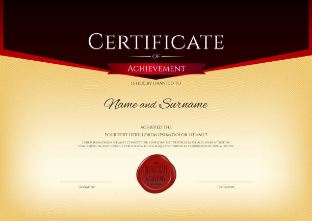 Royalty free elegant certificate template for excellence achievement elegant certificate template for excellence achievement on red border clip art vector images illustrations yadclub Image collections