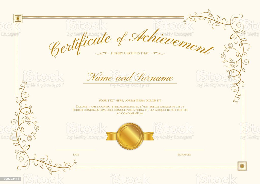 Luxury Certificate Template With Elegant Border Frame ...