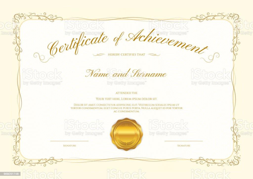 Luxuszertifikatvorlage Mit Eleganten Rahmen Diplom Design Abschluss ...