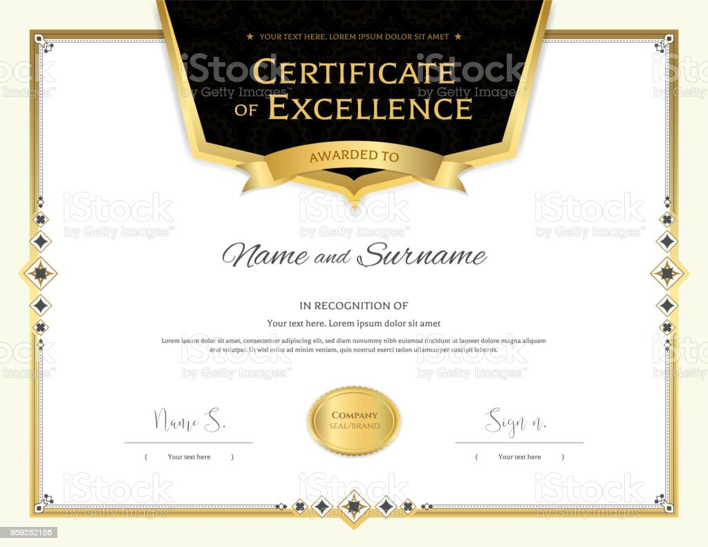 Luxury Certificate Template With Elegant Border Frame Diploma Design ...