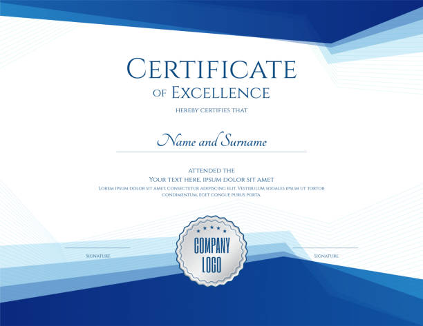 luxury certificate template with elegant border frame, diploma design for graduation or completion - сертификат stock illustrations