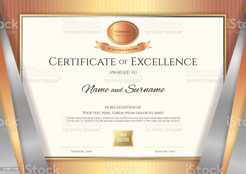 Luxury certificate template with elegant golden border frame stock award award ribbon gold seal stamp thailand luxury certificate template with elegant golden border yadclub Gallery