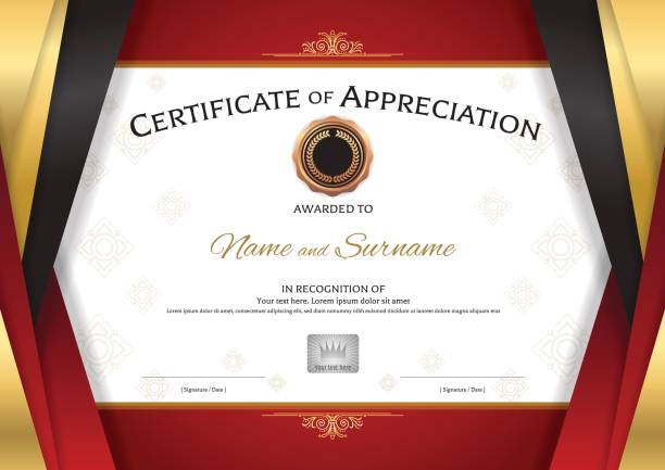 ilustrações, clipart, desenhos animados e ícones de modelo de certificado de luxo com moldura elegante borda vermelha dourada - molduras de certificados e premiações