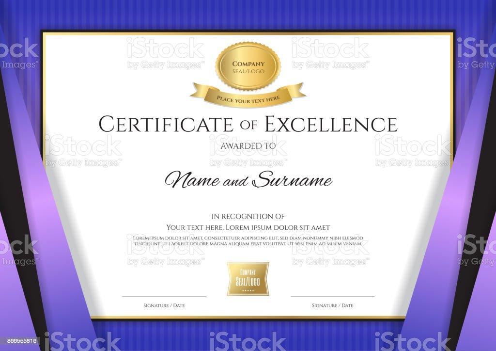 Plantilla De Certificado De Lujo Con Elegante Borde Violeta Marco ...