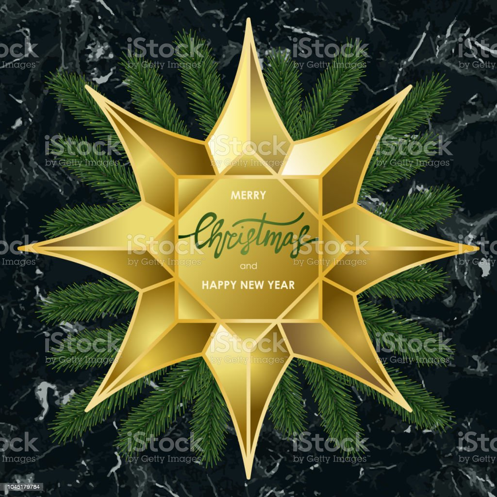 luxury christmas and new year card with gold star on marble background royalty free luxury