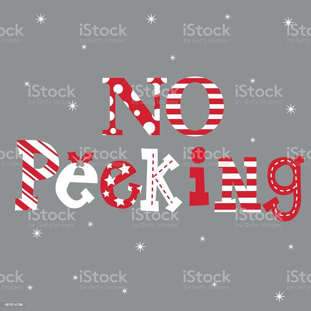 Luxury Christmas Card With No Peeking Word Illustration Stock Vector ...