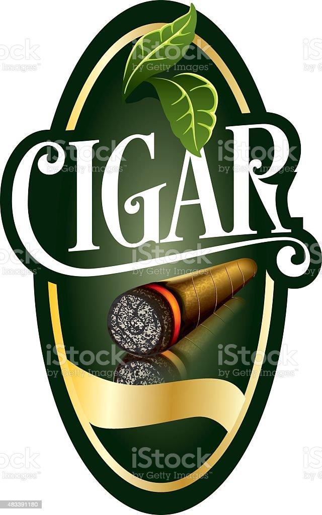 Luxury Cigar Label vector art illustration
