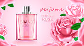 Luxury cosmetic Bottle package skin care cream, Beauty cosmetic product poster, with Rose and pink color background