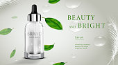 Luxury cosmetic Bottle package skin care cream, Beauty cosmetic product poster, with water drop and green leaves on white color background