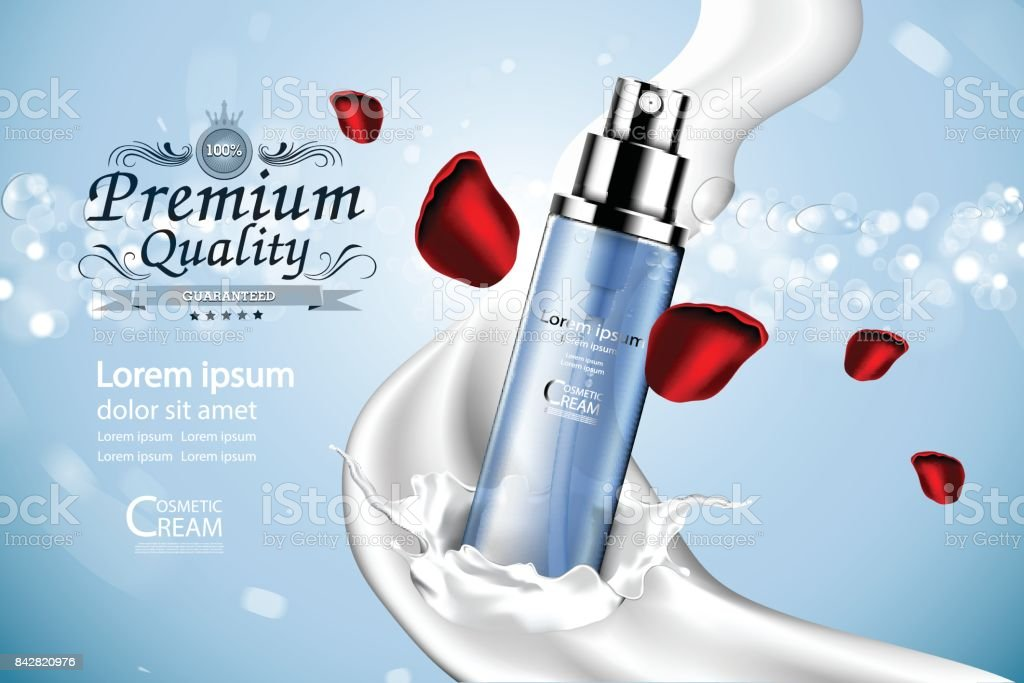 Luxury cosmetic Bottle package skin care cream, Beauty cosmetic product poster, with Bokeh and Water background vector art illustration