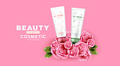 Luxury cosmetic Bottle package skin care cream. Beauty Product with rose and pink background.