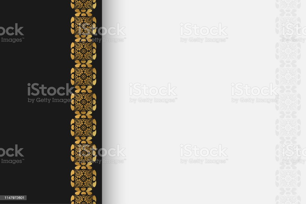 Luxury Cover For Wedding Invitation Card With Gold Ornament Border