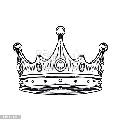 Crown Hand Drawn. Vector illustration isolated on white background. vector illustration