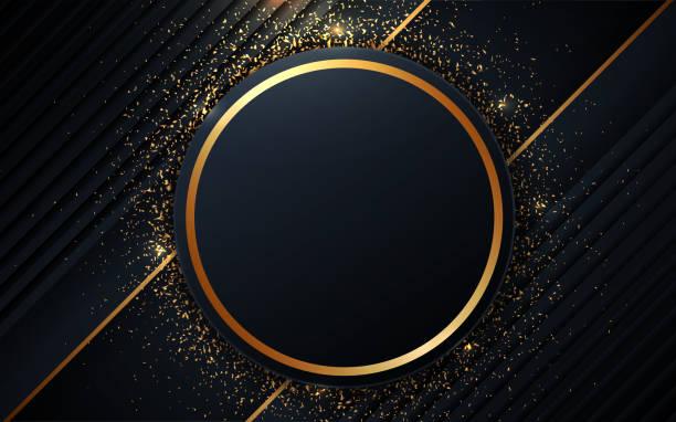 illustrations, cliparts, dessins animés et icônes de le cercle bleu foncé de luxe forme le fond avec la décoration d'or - gold