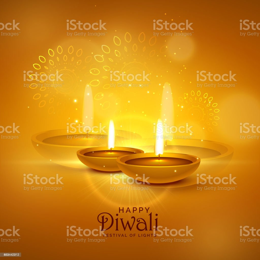 luxury diwali festival greeting background with decorative elements vector art illustration