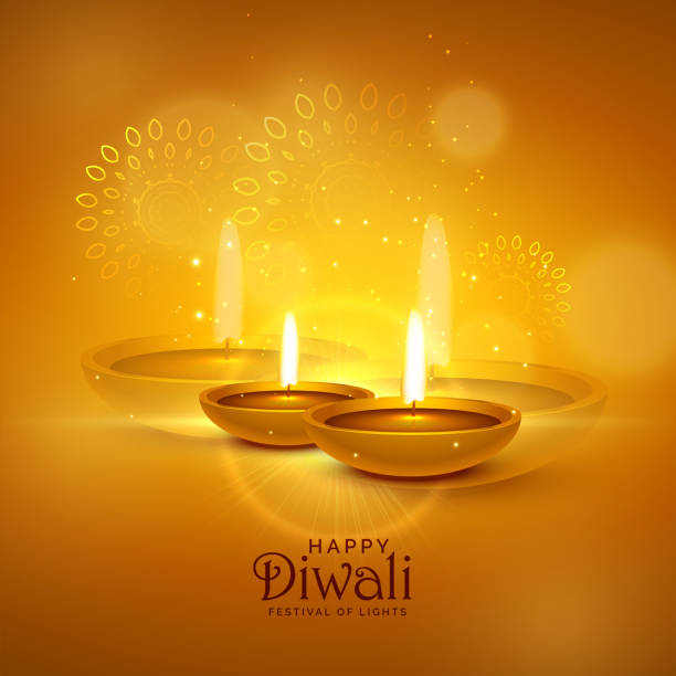 luxury diwali festival greeting background with decorative elements - diwali stock illustrations, clip art, cartoons, & icons