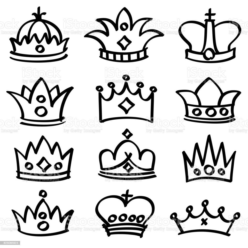 Vector de coronas de Reina de lujo doodle sketch colección - ilustración de arte vectorial