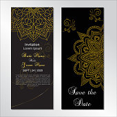 Ornamental Design dark wedding invitation