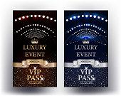 Luxury event elegant Vip Passes. Vector illustration