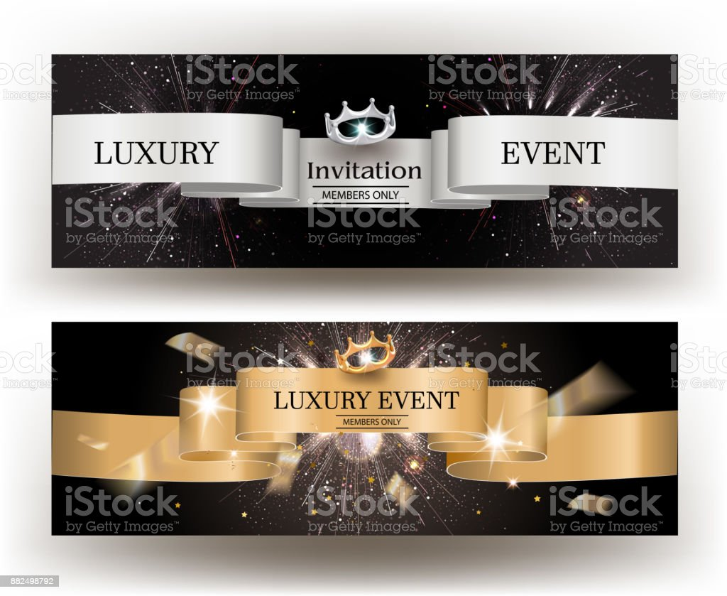 Luxury Event Invitation Card With Gold And Silver Ribbons Vector Illustration Stock Illustration Download Image Now Istock