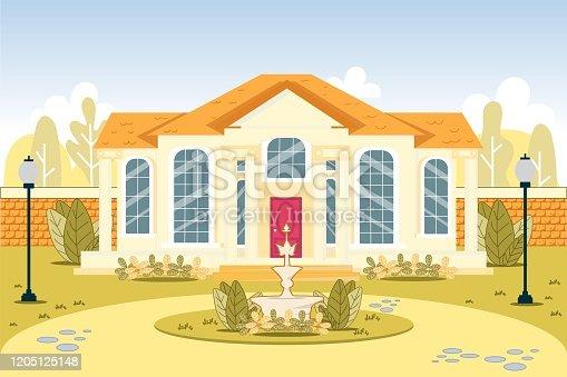 istock Luxury Expansive Suburb House Exterior Building 1205125148