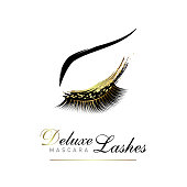 Luxury eye lashes glamour emblem. Vector illustration for beauty salon or lash extensions maker. Eye makeup with golden glitter.
