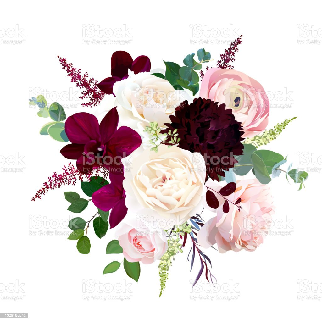 Luxury fall flowers vector bouquet. vector art illustration