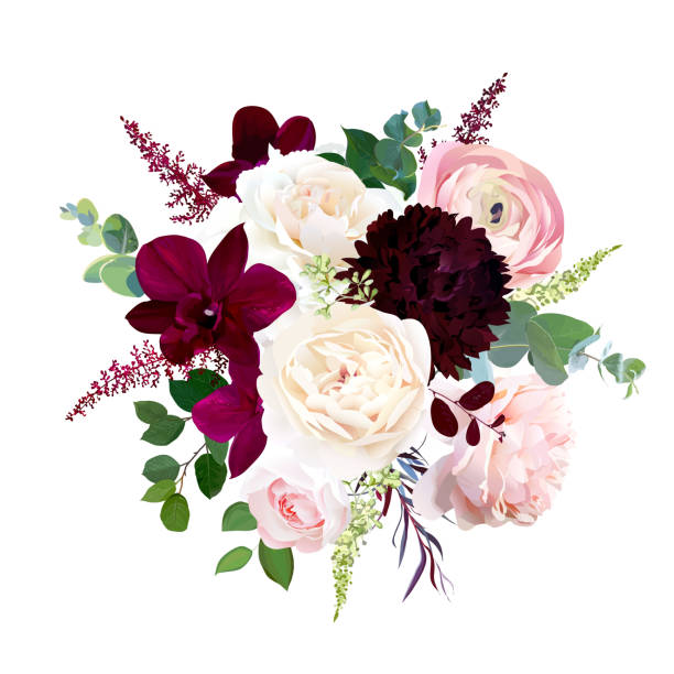 luxury fall flowers vector bouquet. - flowers stock illustrations, clip art, cartoons, & icons