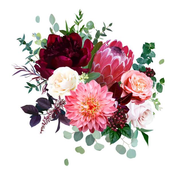 ilustraciones, imágenes clip art, dibujos animados e iconos de stock de flores de otoño de lujo ramo vectorial - moda de otoño