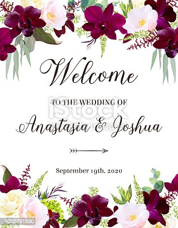 Luxury fall flowers vector design frame. Dark orchid, pink camellia, yellow rose, burgundy red astilbe, green hydrangea, seeded eucalyptus and greenery. Autumn wedding card. Isolated and editable.