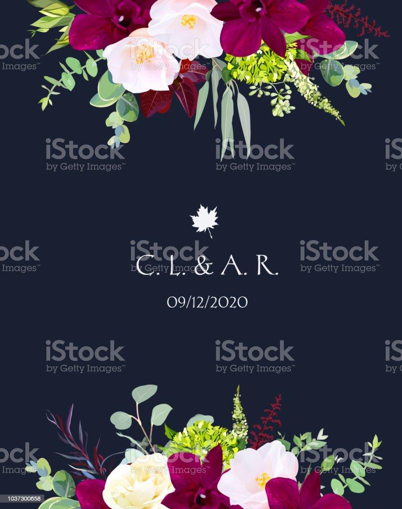 Luxury Fall Flowers Vector Design Navy Blue Frame Stock Vector Art