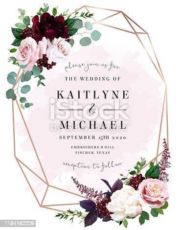 istock Luxury fall flowers wedding vector bouquet card. 1184162226