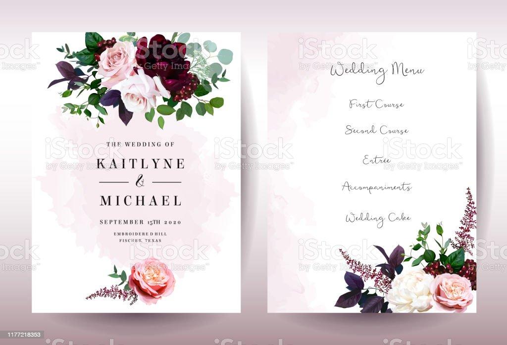 Luxury fall flowers wedding vector bouquet cards. Garden dusty rose,...