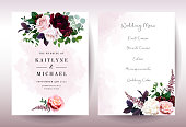 Luxury fall flowers wedding vector bouquet cards. Garden dusty rose, burgundy red and white peony, ranunculus flowers, astilbe, greenery and berry. Autumn watercolor style frames.Isolated and editable
