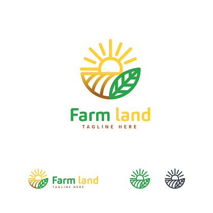 Luxury Farm land icon designs concept, Agriculture icon template