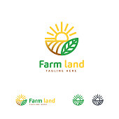 istock Luxury Farm land icon designs concept, Agriculture icon template 1302005678