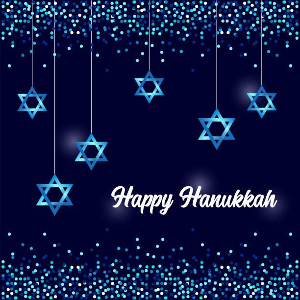 ilustraciones, imágenes clip art, dibujos animados e iconos de stock de lujo festivo feliz hanukkah fondo con destellos y efecto brillante y letras - jánuca