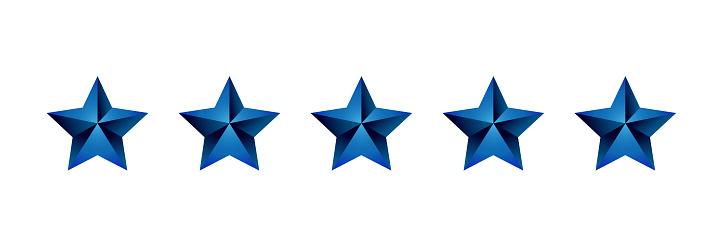 Luxury Five Stars Dark Blue Gradient Rating Icon Vector Stock Illustration  - Download Image Now - iStock