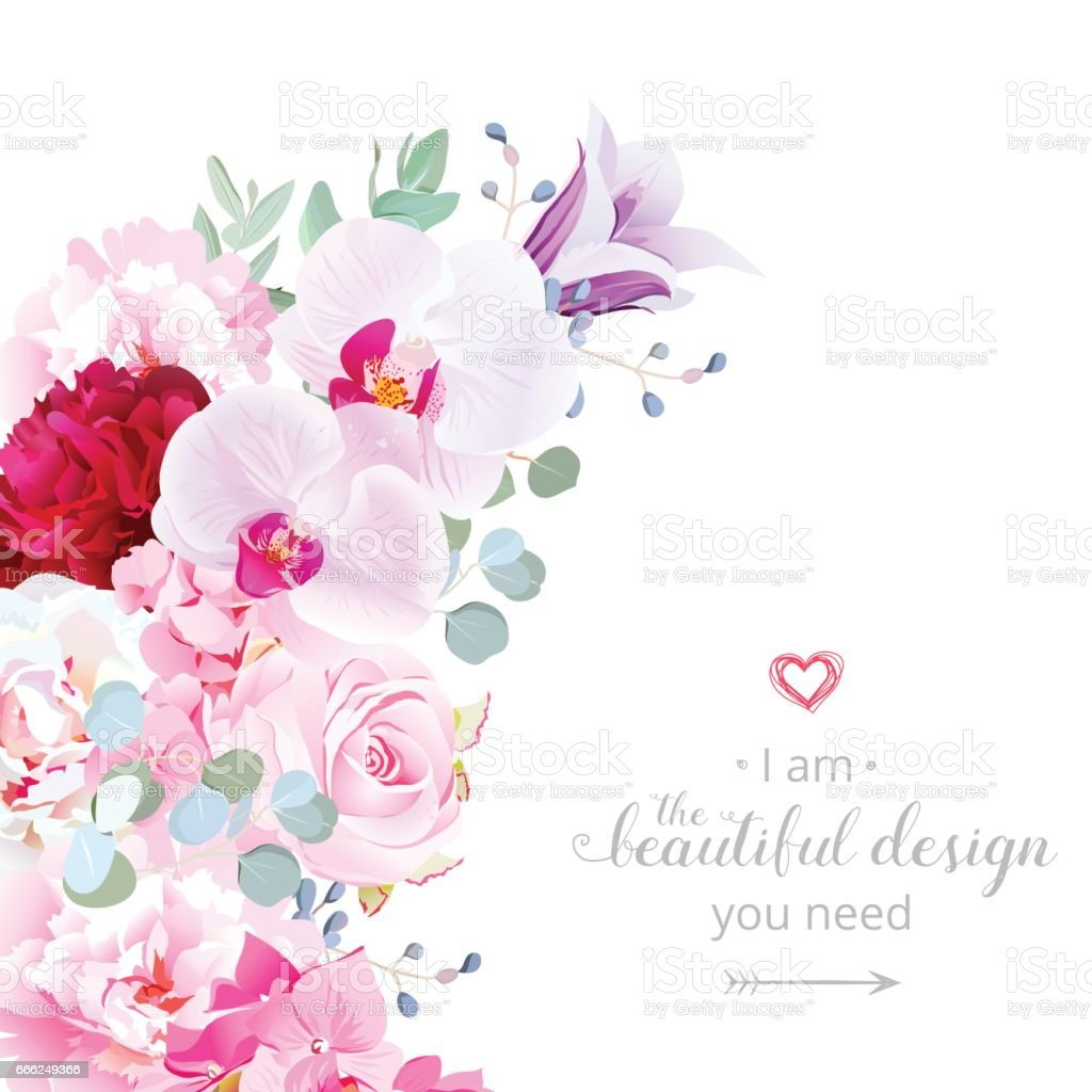Luxury floral crescent shape vector frame with flowers ベクターアートイラスト