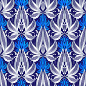 Luxury floral line art vector 3d  seamless pattern. Abstract elegance silver flowers, leaves. Vintage hand drawn ornament. Dark blue ornamental  background. Beautiful textured design. Ornate texture